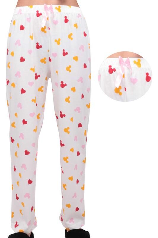 SİMİSSO - Kalp Desenli Kadın Pijama Altı   Beyaz