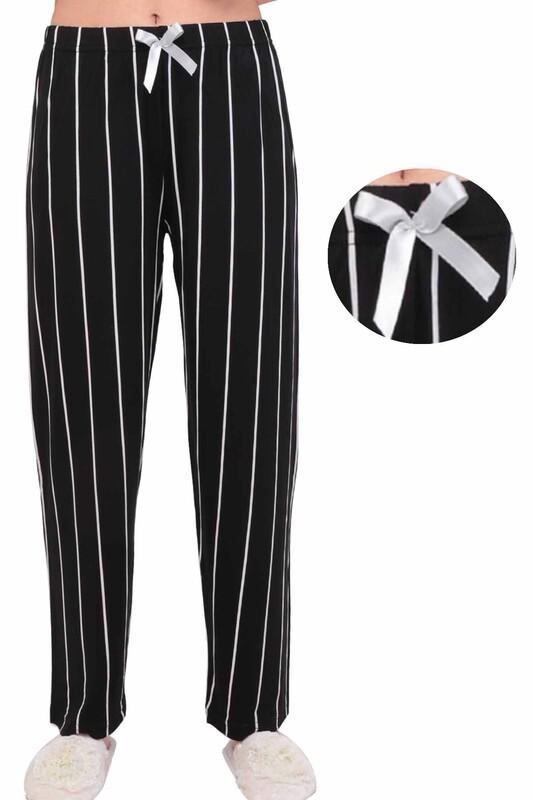 SİMİSSO - Çizgili Kadın Pijama Altı   Siyah