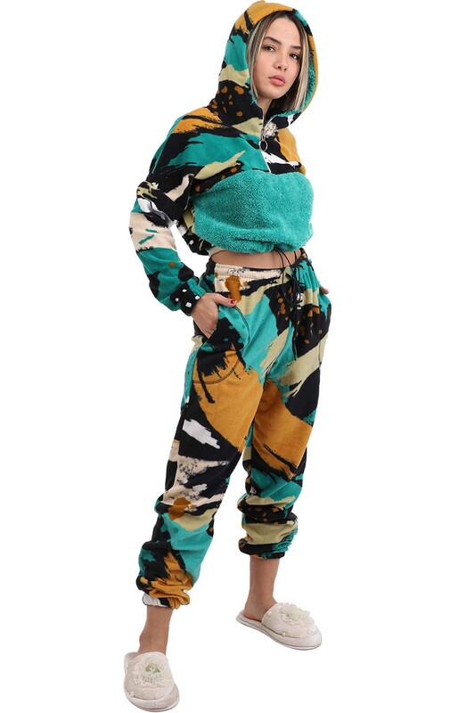 ARC - Arcan Kapüşonlu Polar Pijama Takımı 1415-2   Yeşil
