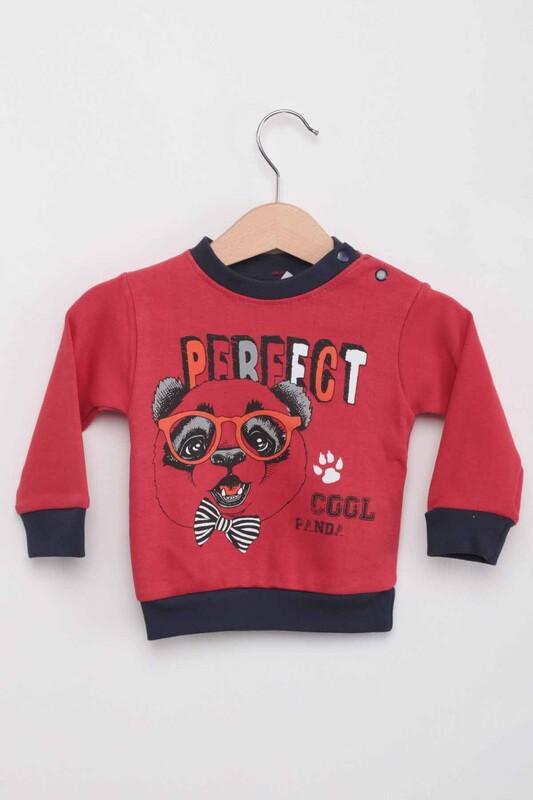 BABY CHOİCE - Panda Baskılı Erkek Bebek 3'lü Takım | Kırmızı