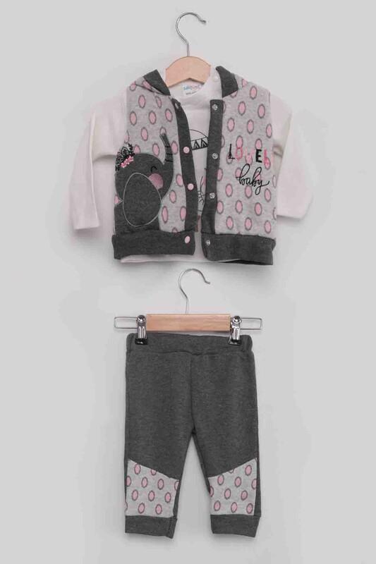 BABY CHOİCE - Fil Baskılı Yelekli Kız Bebek 3'lü Takım | Gri