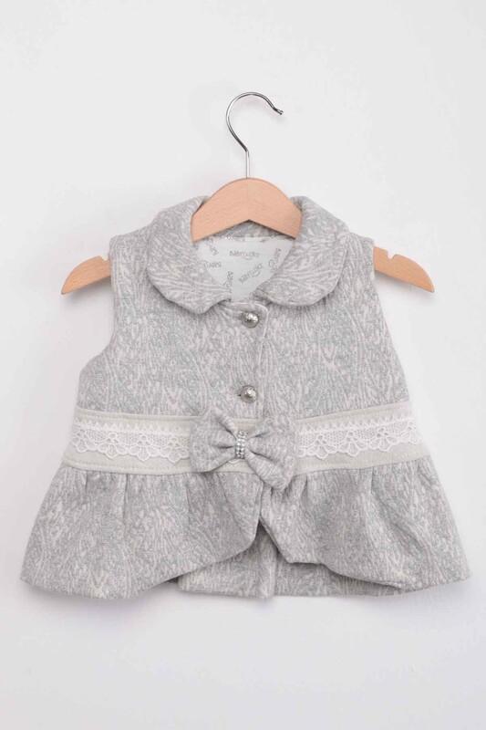 BABY CHOİCE - Bebe Yaka Yelekli Kız Bebek 3'lü Takım | Gri