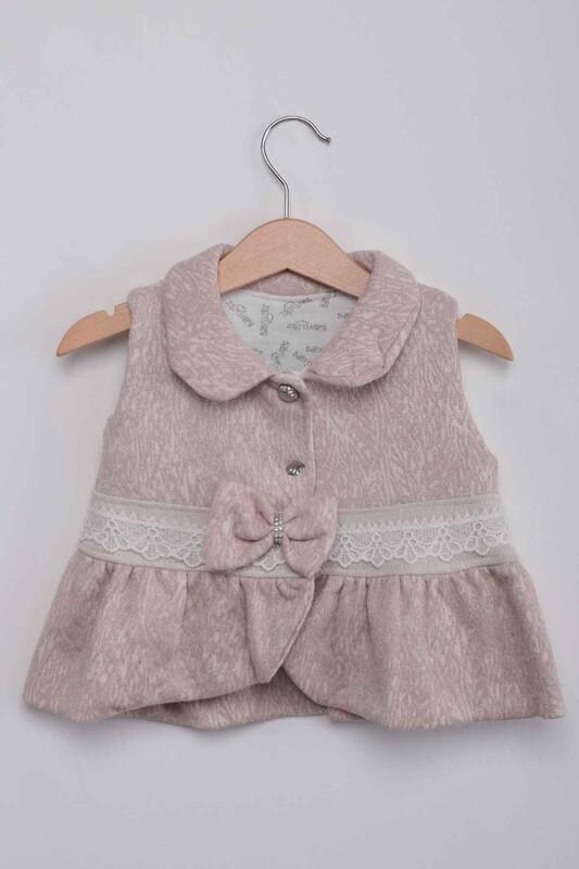 BABY CHOİCE - Bebe Yaka Yelekli Kız Bebek 3'lü Takım | Pudra