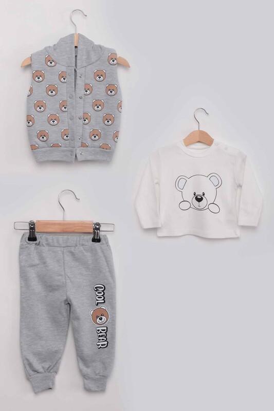 BABY CHOİCE - Panda Baskılı Yelekli Erkek Bebek 3'lü Takım | Gri