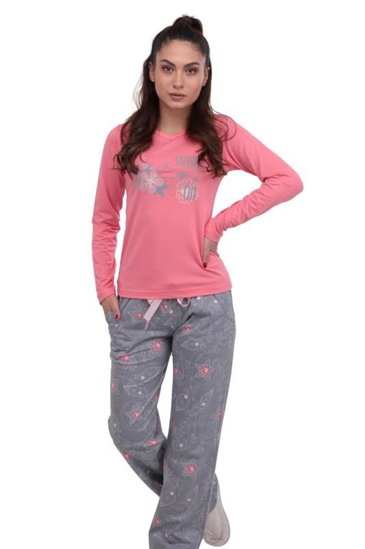 BERLAND - Berland Bol Paçalı Desenli Pijama Takımı 3003   Pembe