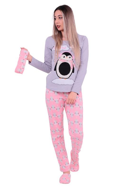 BOYRAZ - Boyraz Penguenli Pijama Takımı 4'lü 11108 | Gri
