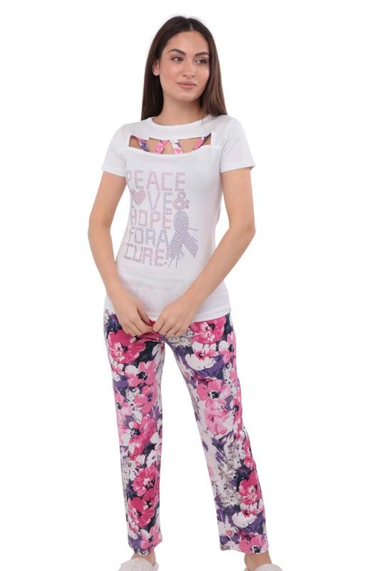 EWE - Ewe Ön Yakası Açık Kısa Kollu Desenli Pijama Takımı 561 | Beyaz