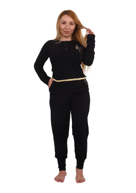 FAPİ - Fapi Dar Paçalı Düğmeli Cepli Pijama Takımı 7310 | Siyah