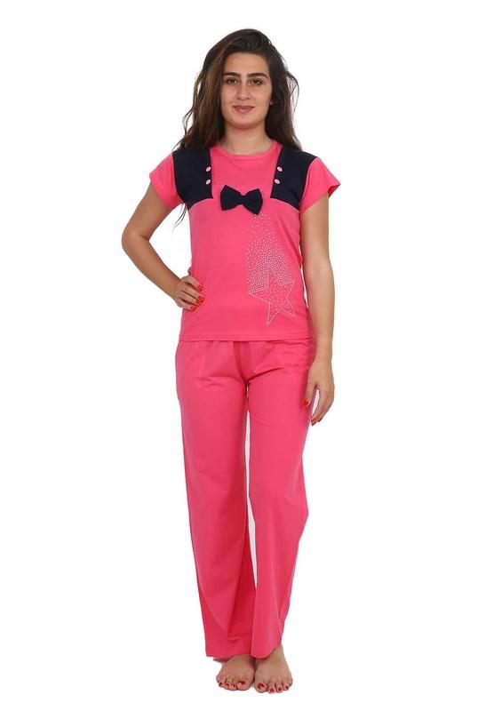 FAPİ - Fapi Yakası Desenli Kısa Kollu Siyah Pijama Takımı 2345 | Şeker Pembe