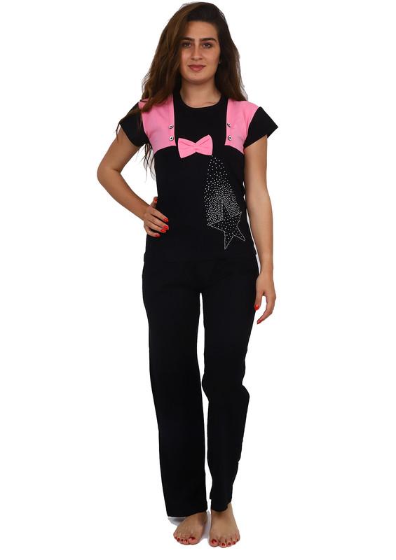 FAPİ - Fapi Yakası Desenli Kısa Kollu Siyah Pijama Takımı 2345 | Bebe Pembe