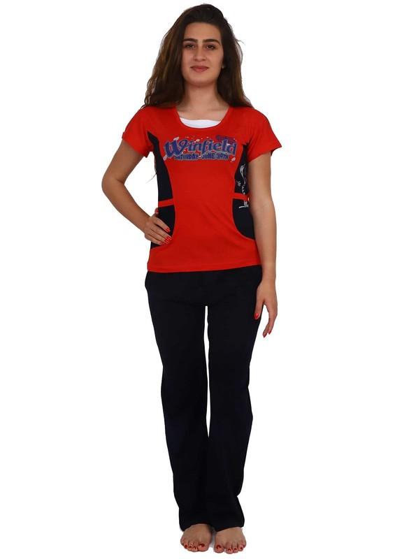 FAPİ - Fapi Dar Paçalı Desenli Kırmızı-Siyah Pijama Takımı 2337   Kırmızı
