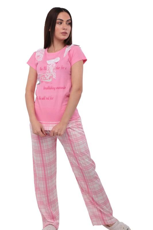 FAPİ - Fapi Boru Paçalı Desenli Pijama Takımı 2331 | Pembe