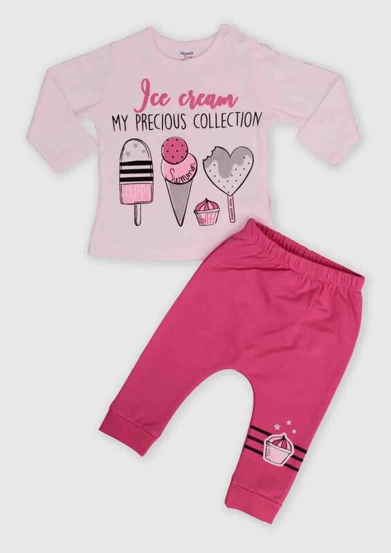 HOPPALA BABY - Hoppala Baby Dondurma Baskılı 2'li Bebek Takım | Fuşya