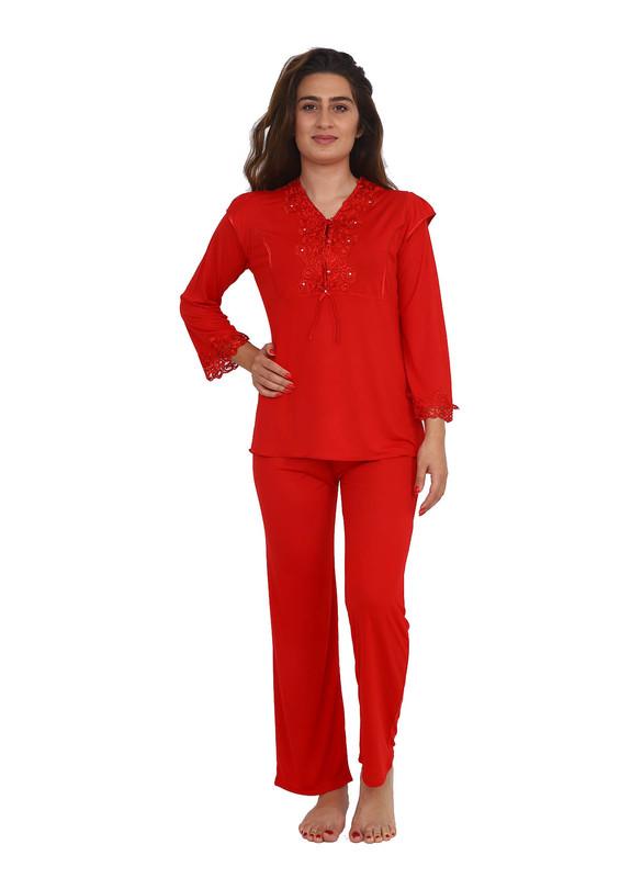 İMAJ - Güpür Yakalı Düğmeli Pijama Takımı 1299 | Kırmızı