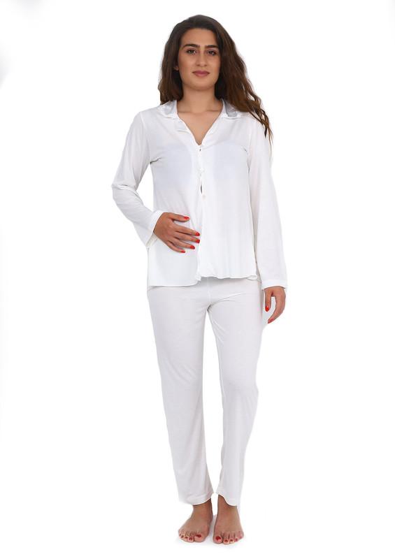 İMAJ - İmaj Gömlek Yakalı Düğmeli Beyaz Pijama Takımı 113 | Ekru