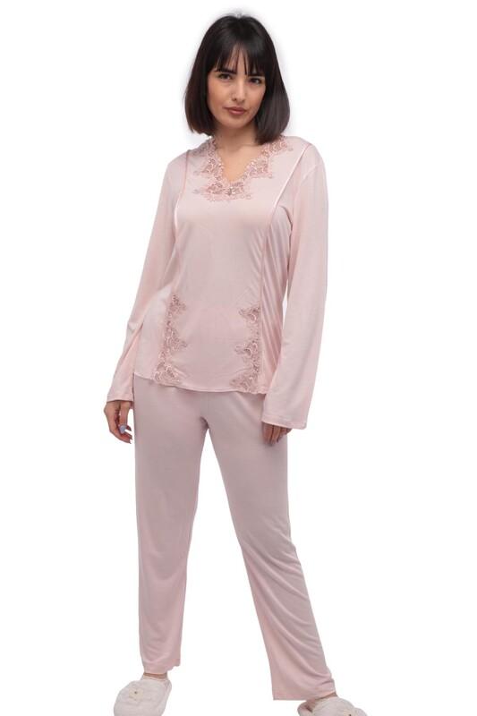 İMAJ - Yakası Güpürlü Boru Paçalı Pijama Takımı 114 | Pudra
