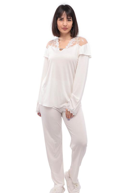 İMAJ - İmaj V Yaka Yakası Ve Kolları Güpürlü Pijama Takımı 120   Ekru