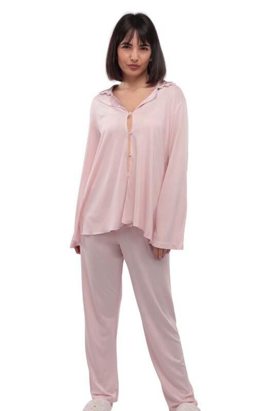 İMAJ - İmaj Gömlek Yakalı Düğmeli Beyaz Pijama Takımı 113   Pudra