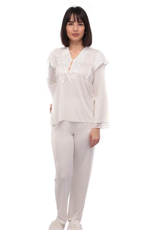 İMAJ - Güpür Yakalı Düğmeli Pijama Takımı 1299 | Ekru