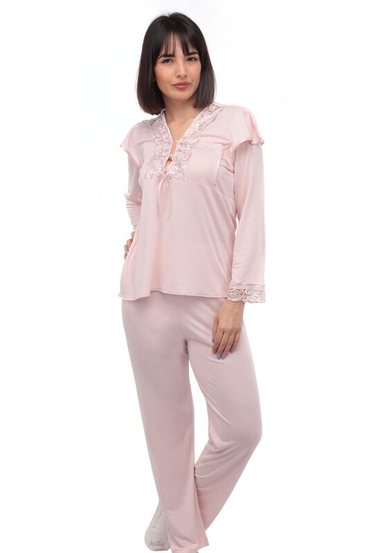 İMAJ - Güpür Yakalı Düğmeli Pijama Takımı 1299 | Pudra