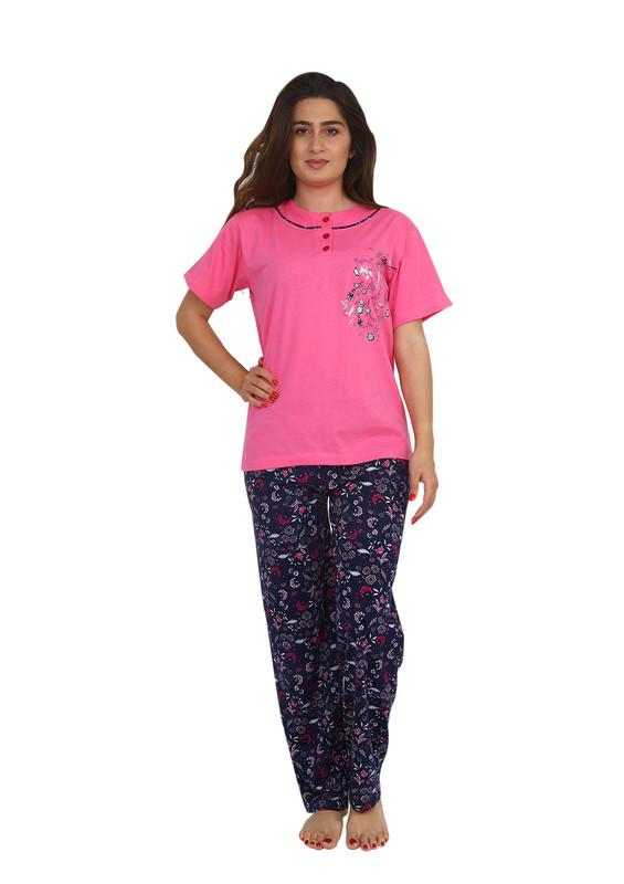 IŞILAY - Işılay Boru Paçalı Kısa Kollu Çiçek Desenli Pijama Takımı 5720 | Pembe