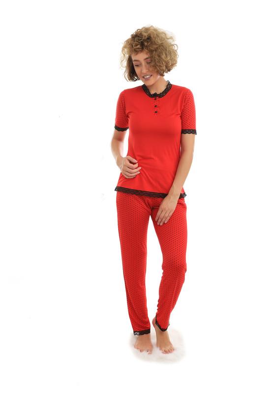 JAR PIERRE - Jar Pierre Güpür Detaylı Puaniyeli Kısa Kollu Kırmızı Pijama Takımı 303 | Kırmızı