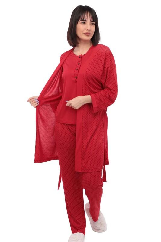 JAR PIERRE - Jar Pierre Düğme Detaylı Puantiyeli Siyah-Beyaz Pijama Seti 3 ' lü 215 | Kırmızı