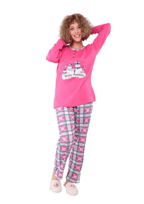 LİNDROS - Lindros Kare Desenli Baskılı Yırtmaçlı Pijama Takımı 7569 | Fuşya