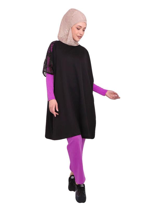 LOLITAM - Lolitam Kolları Güpürlü Sarı-Siyah Tesettür Pijama Takımı 3 ' lü 10909 | Pembe
