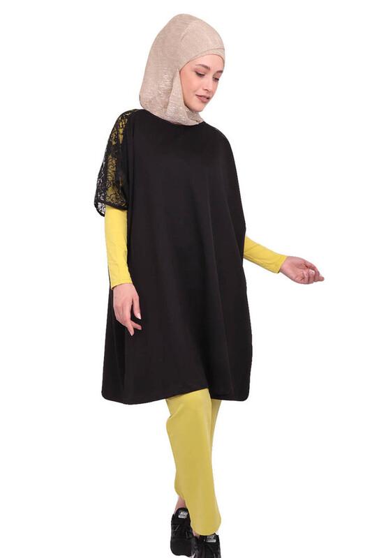 LOLITAM - Lolitam Kolları Güpürlü Sarı-Siyah Tesettür Pijama Takımı 3 ' lü 10909 | Yeşil