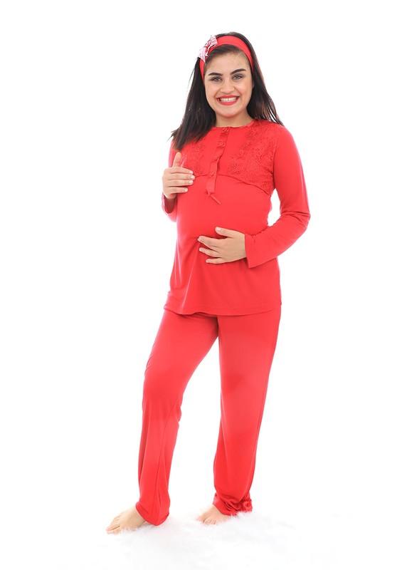 MECİT - Mecit Güpürlü Kolları Volanlı Hamile Pijama Takımı 1342   Kırmızı