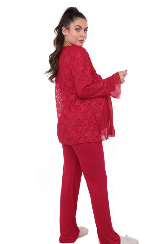Mecit Güpürlü Hamile Pijama Takımı 1403   Kırmızı - Thumbnail