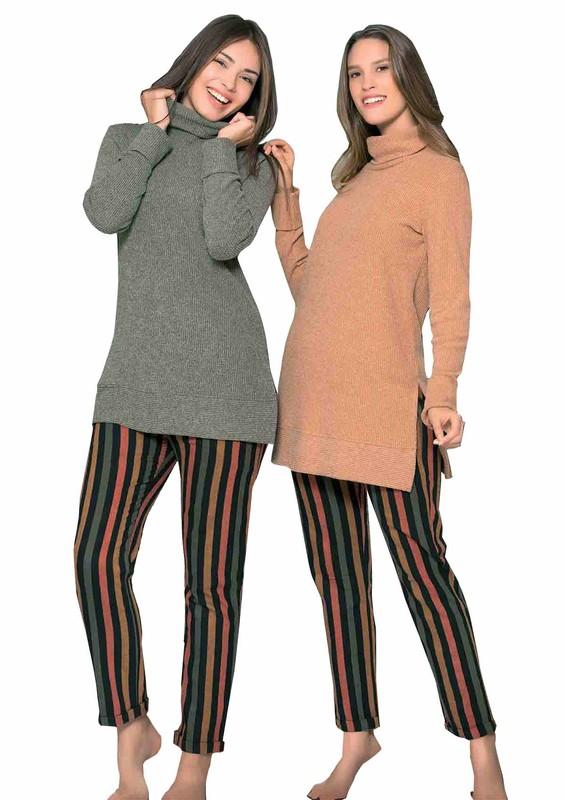 POLEREN - Poleren Yanları Yırtmaçlı Boğazlı Pijama Takımı 6124   Yeşil