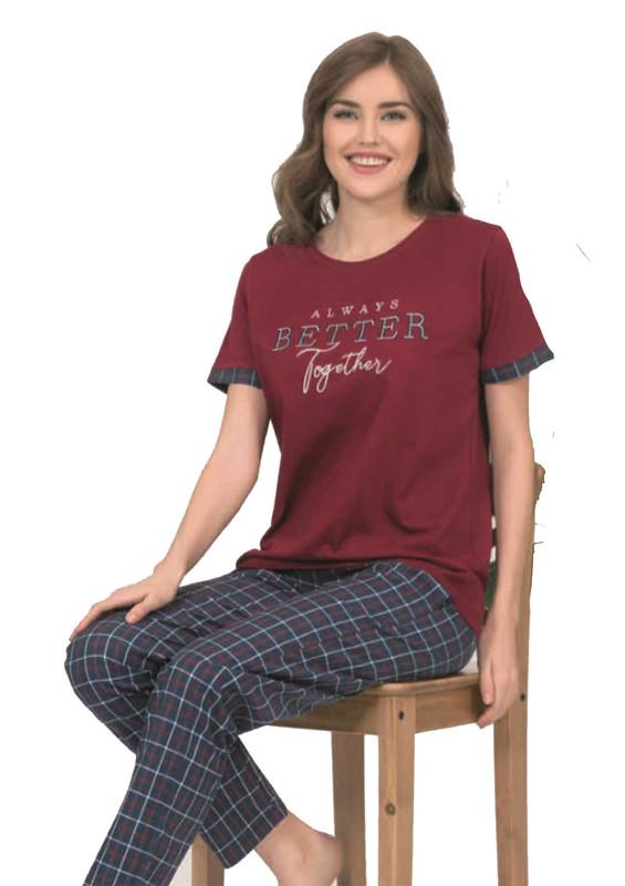 POLEREN - Poleren Kısa Kol Yazılı Desenli Pijama Takımı 5933 | Bordo