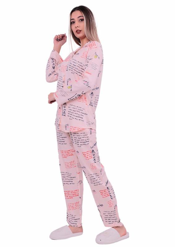 POLEREN - Poleren Gömlek Yakalı Önü Düğmeli Yazılı Pijama Takımı 5970 | Pudra