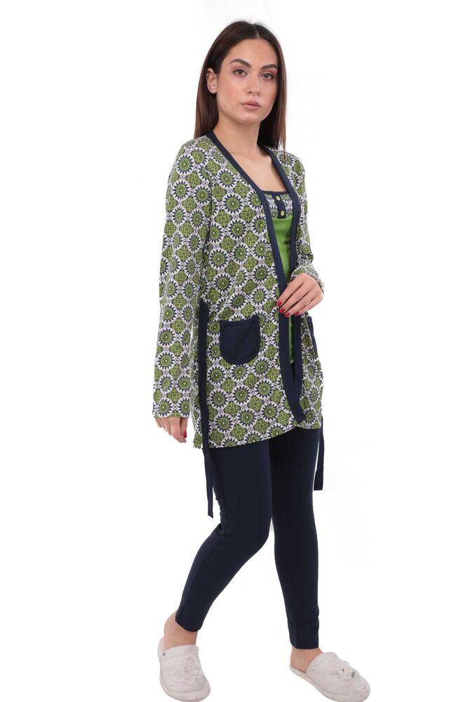Polkan Desen ve Cepli Taytlı Pijama Takımı 3 ' lü 3810   Siyah Yeşil