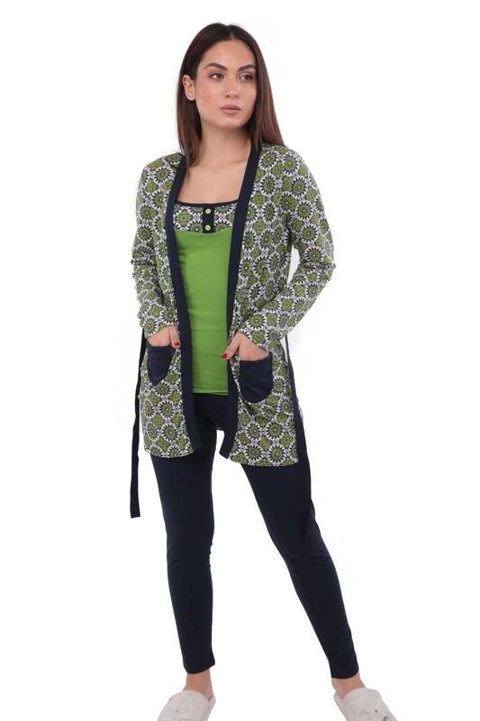 Polkan Desen ve Cepli Taytlı Pijama Takımı 3 ' lü 3810   Siyah Yeşil - Thumbnail