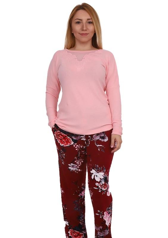 SENFONİ - Senfoni Çiçek Desenli Güpür Detaylı Pijama Takımı 1471 | Pudra