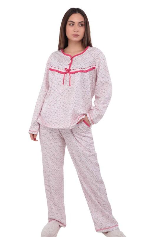 SİMİSSO - Simisso Boru Paçalı Desenli Pijama Takımı 804   Pembe
