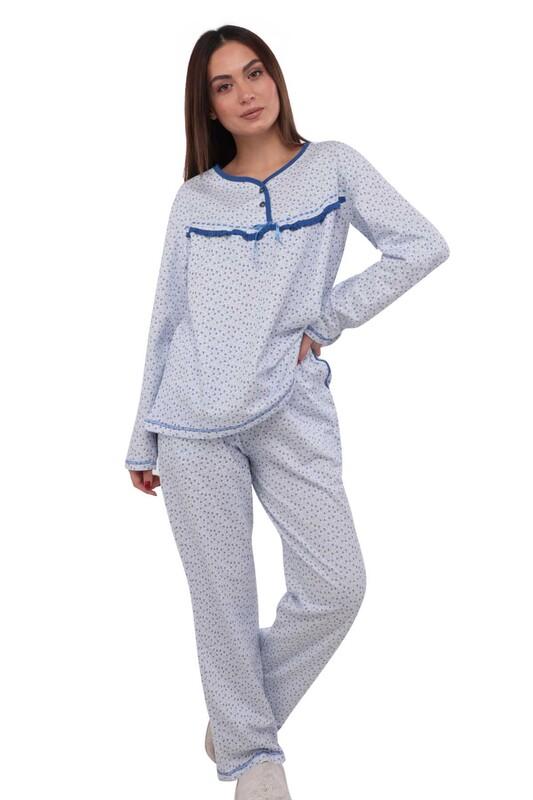 SİMİSSO - Simisso Boru Paçalı Desenli Pijama Takımı 804 | Mavi