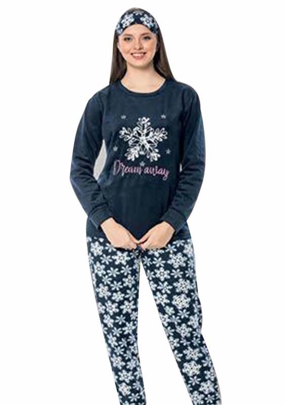 SNC - Snc Kar Tanesi Desenli Polar Pijama Takımı 7129   Lacivert