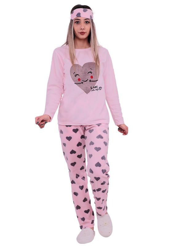 SNC - Snc Kalp Desenli Polar Pijama Takımı 7121 | Pembe