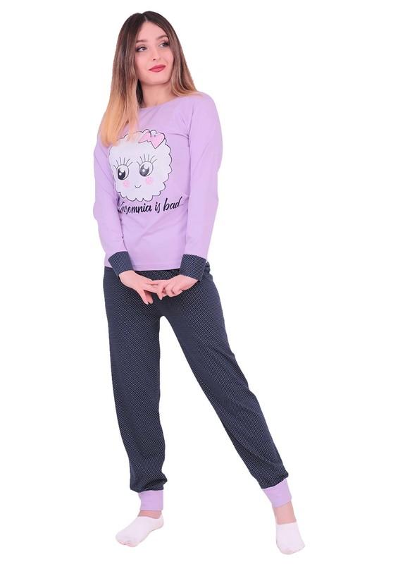 SUDE - Sude Çizgi Karakter Baskılı Uzun Kollu Pijama Takımı 3097 | Lila