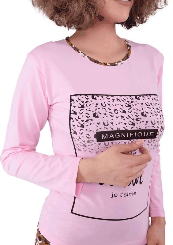 SUDE - Desenli Yazılı Pijama Takımı 2060 | Pembe