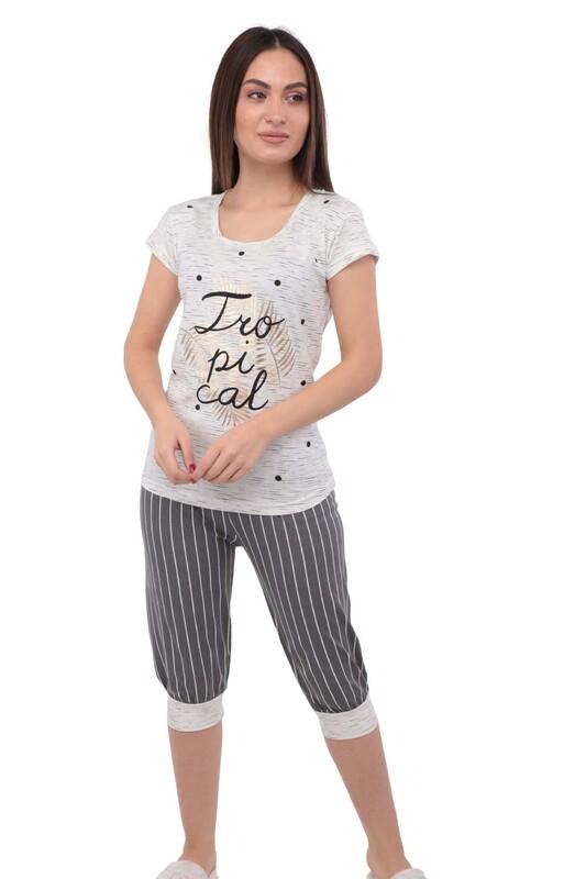 SUDE - Sude Kısa Kollu Desenli Kapri Ribanalı Pijama Takımı 2749   Beyaz