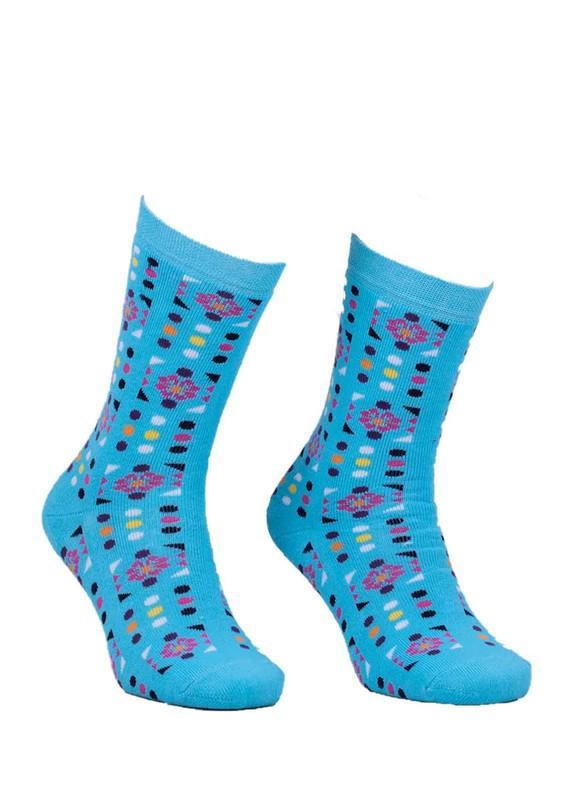 ADA - Ada Puantiyeli Desenli Havlu Çorap 4200 | Mavi