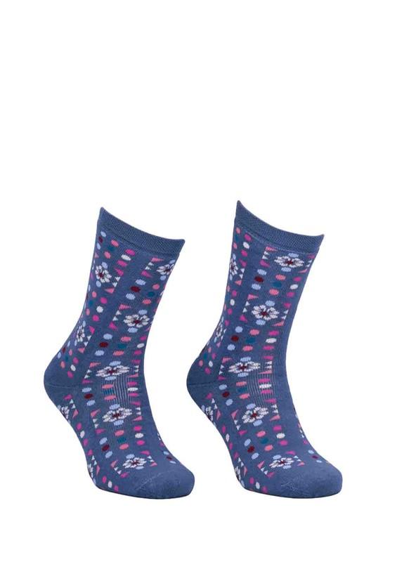 ADA - Ada Puantiyeli Desenli Havlu Çorap 4200 | İndigo