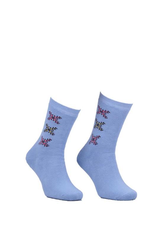 Modemo - Desenli Havlu Çorap 2050 | Mavi