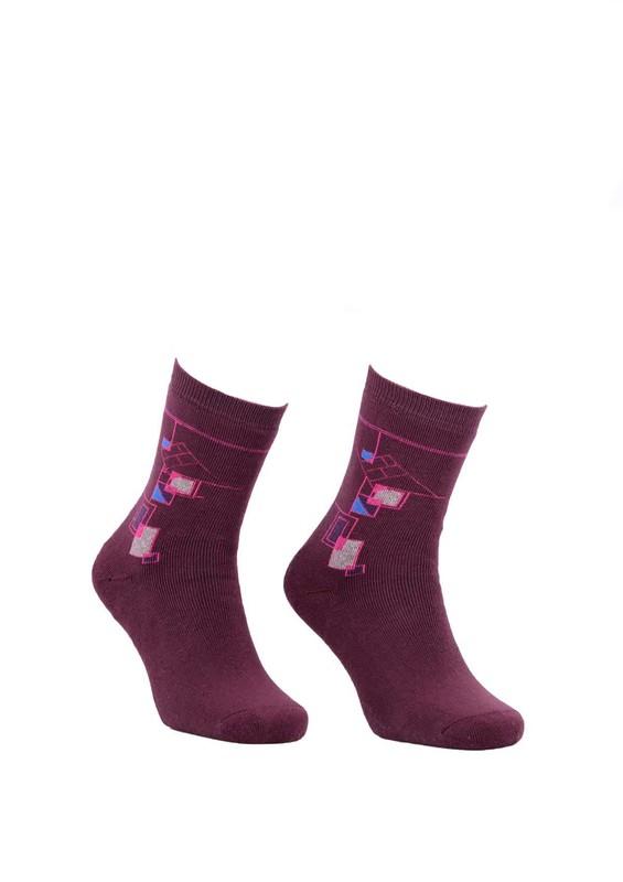 Modemo - Geometrik Desenli Havlu Çorap 2050 | Bordo