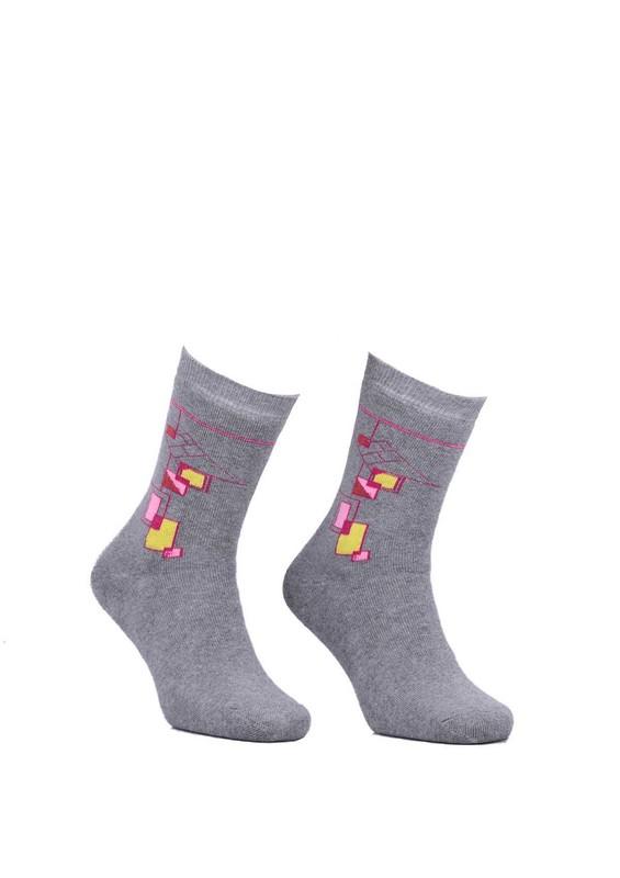 Modemo - Geometrik Desenli Havlu Çorap 2050 | Gri